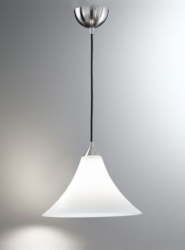 Franklite FL2290/1/921 Satin Nickel & White Pendant Light